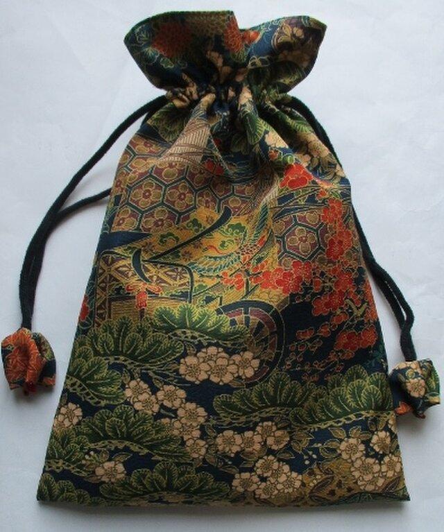 4321 #送料無料 花柄の着物で作った巾着袋の画像1枚目