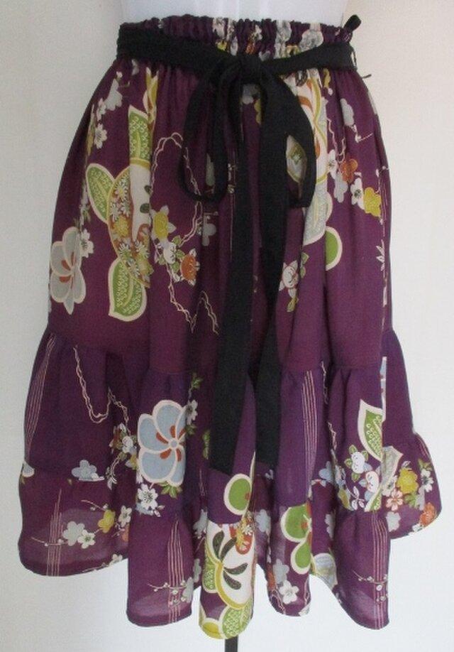 4322 #送料無料 花柄の着物で作った膝丈スカートの画像1枚目
