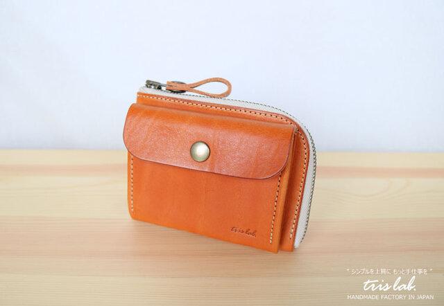 ポッケのついたちいさなお財布 イタリアレザー ライトブラウン の画像1枚目