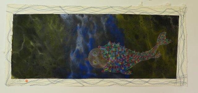 宇宙/ 墨の世界/ 彩墨画 / 水墨画 / 月/ 魚型の宇宙船 /アート作品 / modern paintingの画像1枚目