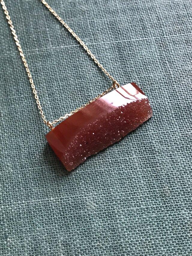 【yukunia】K10 結晶アゲート ネックレス 45cmまで調節可能の画像1枚目