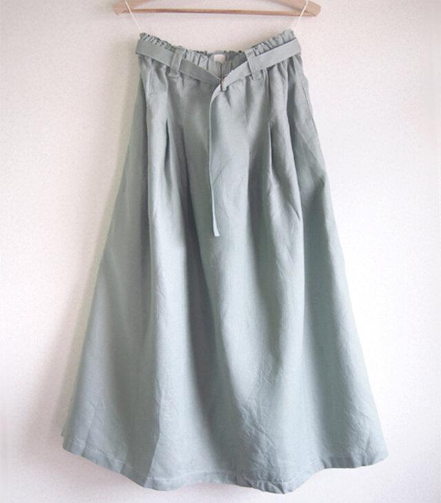 【受注製作】リネン タック&ギャザー ロングスカート/着丈が選べる/ペールグリーンの画像1枚目