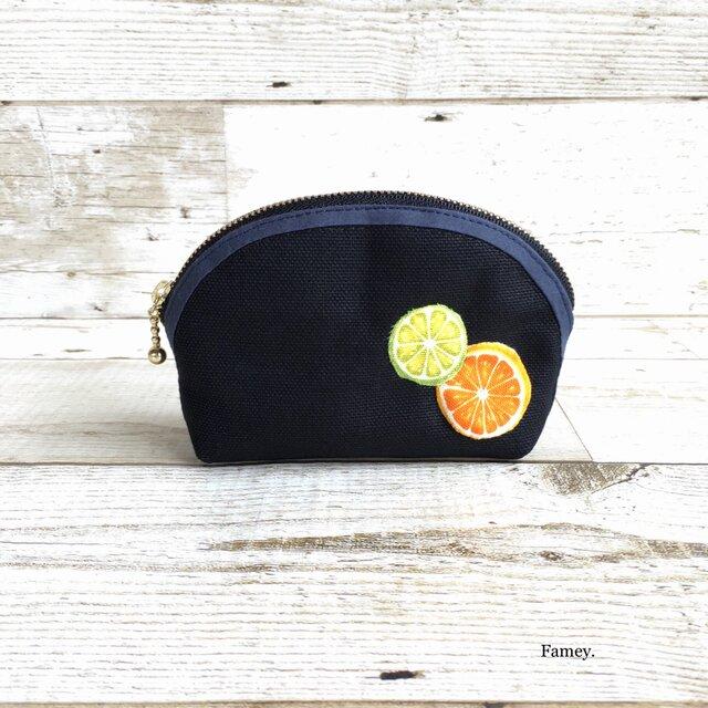 国産帆布×フルーツの小さめポーチ①  小物入れ  オレンジ×ライムの画像1枚目