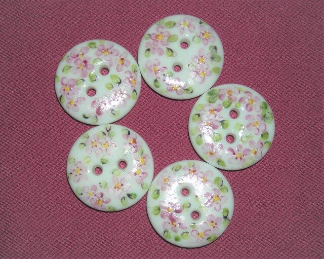 ♥陶器のボタン(2㎝)ピンク5ヶの画像1枚目