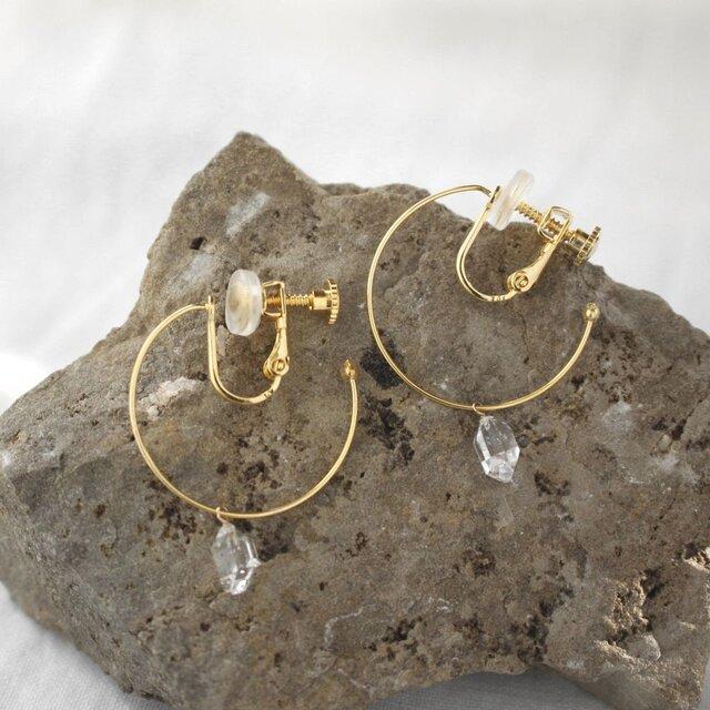 Herkimer Diamond Hooped earrings ハーキマーダイヤモンドのフープイヤリングの画像1枚目