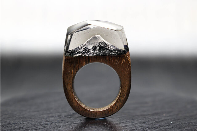 【送料無料】Fuji~Resin Wood Ring~の画像1枚目