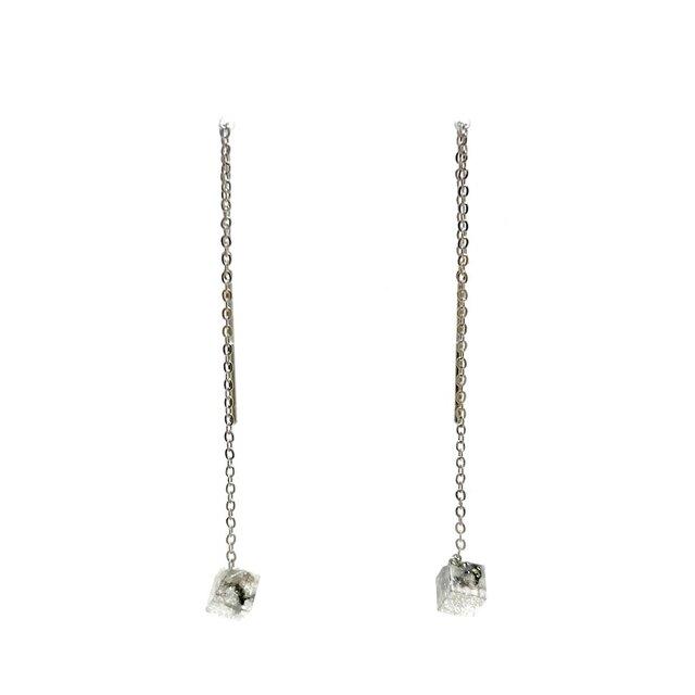 チェーンピアス シルバースクエアS・Threader Earrings - Silver Square (S)の画像1枚目