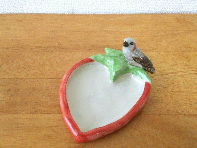 陶トレイ ヒヨドリと苺の画像1枚目