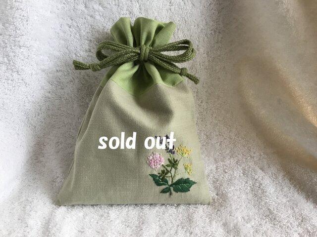 ハーブ刺繍の巾着の画像1枚目