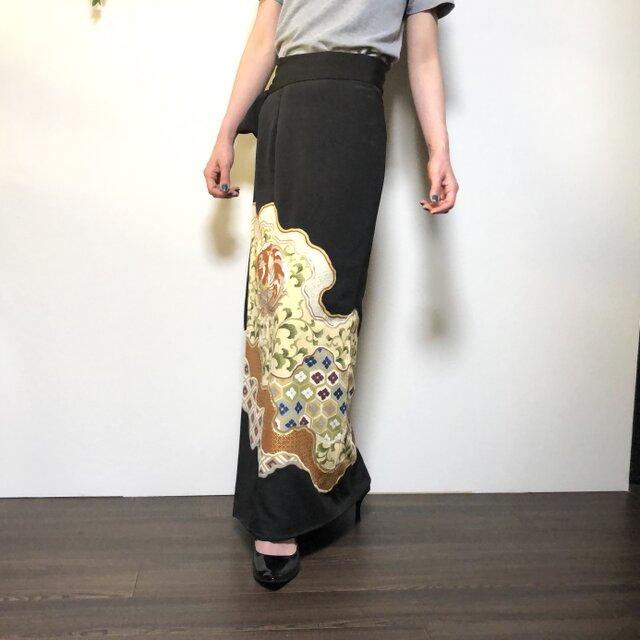 着物リメイク 留袖 ロング丈巻きスカートの画像1枚目