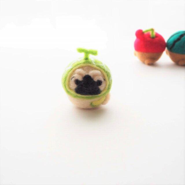 なりきりメロンのまゆパグ(フォーン・黒)  羊毛フェルト(アクレーヌ)※受注製作の画像1枚目