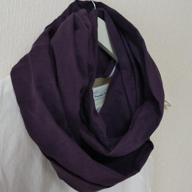 薄くて柔らかいガーゼスヌード★ダークパープル紫の画像1枚目