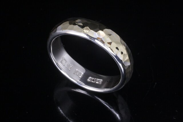 指輪 メンズ : 甲丸 丸 鎚目 シルバー リング 5mm幅 シルバー×K18 14~26号 シンプルの画像1枚目
