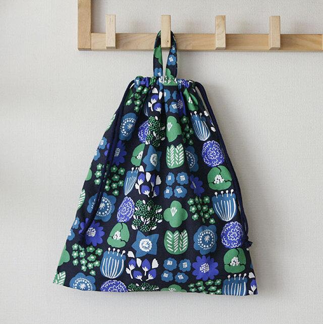 大人のお着替え袋 北欧の花 ネイビーの画像1枚目