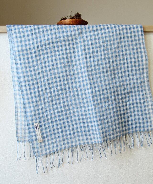 手織り・藍染め リネン大判ストール ギンガムチェックの画像1枚目