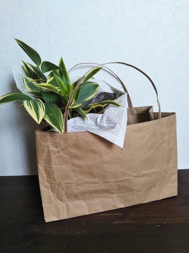 米袋バッグ★ちっちゃい『お袋さん』白ステッチ★バゲットバッグの画像1枚目
