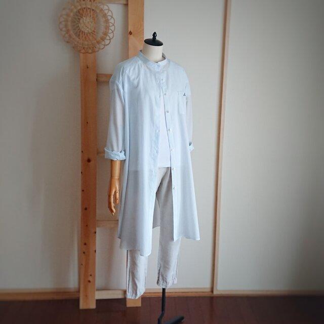 刺繍入り*水色ストライプのロングシャツ*薄手*1点ものの画像1枚目