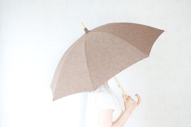リネン日傘 茶の画像1枚目