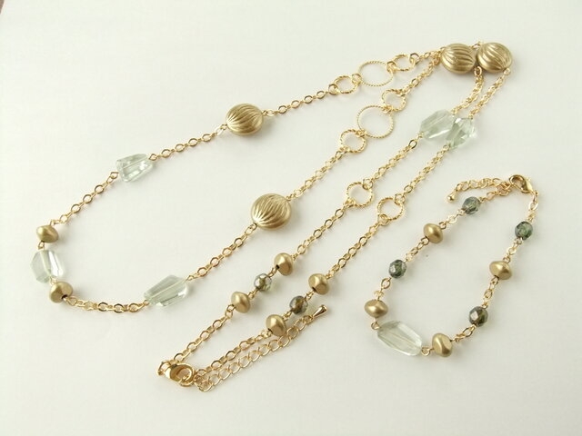 Necklace & Bracelet  グリーンアメシスト セット(N1188)の画像1枚目