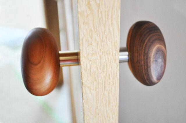 木製ドアノブ/2個/小石型 HS-B オーク/チェリー/オールナット【 選べる2個セット】の画像1枚目