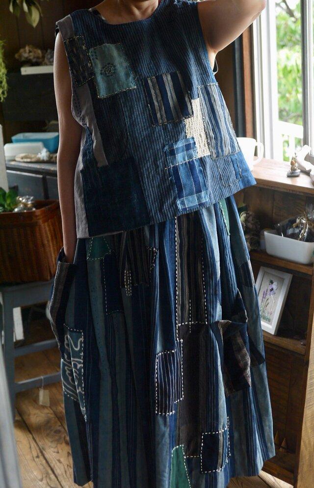 古布ストライプ組み合わせギャザースカートの画像1枚目