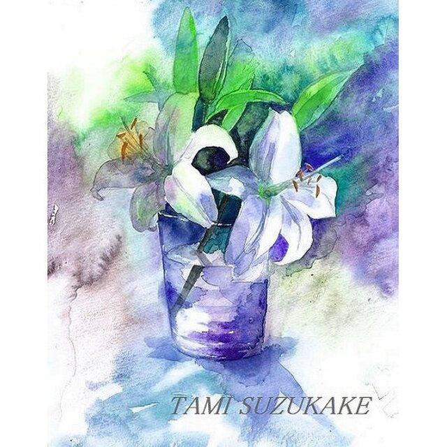 水彩・原画「百合の花」の画像1枚目