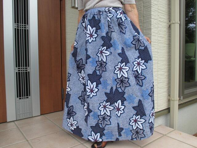 浴衣リメイク  ♧  絞りのロングスカート の画像1枚目
