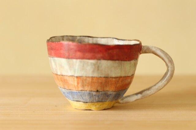 ※atuko様専用画面 受注制作粉引き手びねりカラフルボーダーのカップ。の画像1枚目