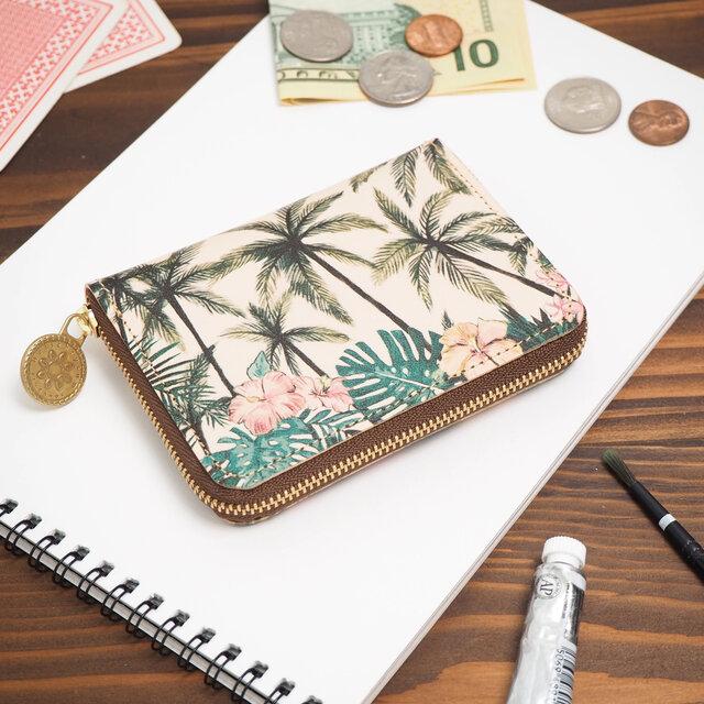 ラウンドファスナー コンパクト財布(トロピカル パーム)牛革  小さい ILL-1145の画像1枚目