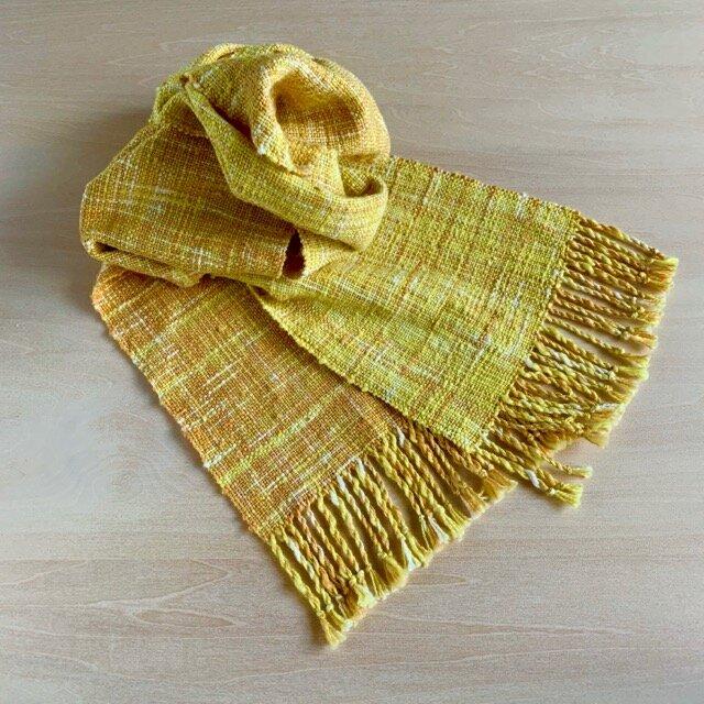 太陽の香り 絣のストール 手織り コットンの画像1枚目