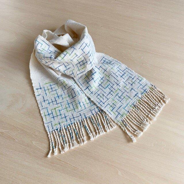 空とライムのストール 絣 手織り コットンの画像1枚目