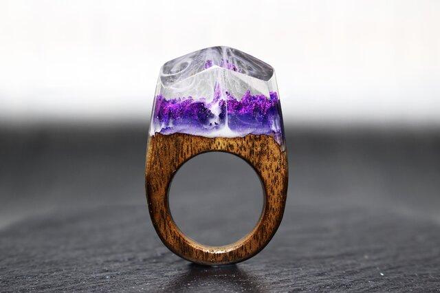 【送料無料】Amethyst World ~Resin Wood Ring~の画像1枚目