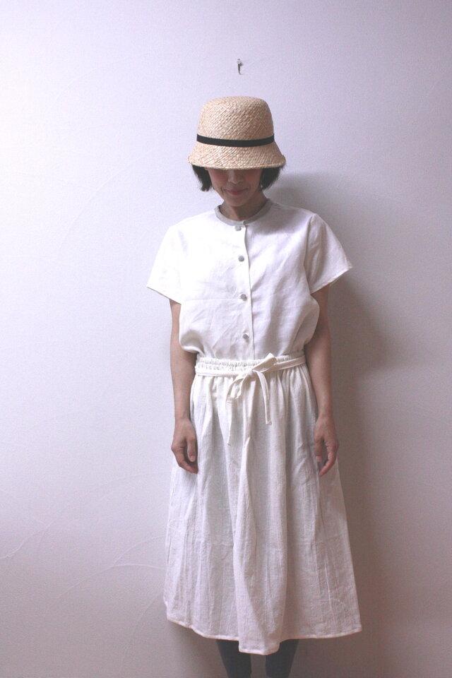 ハーフリネン ギャザースカートの画像1枚目
