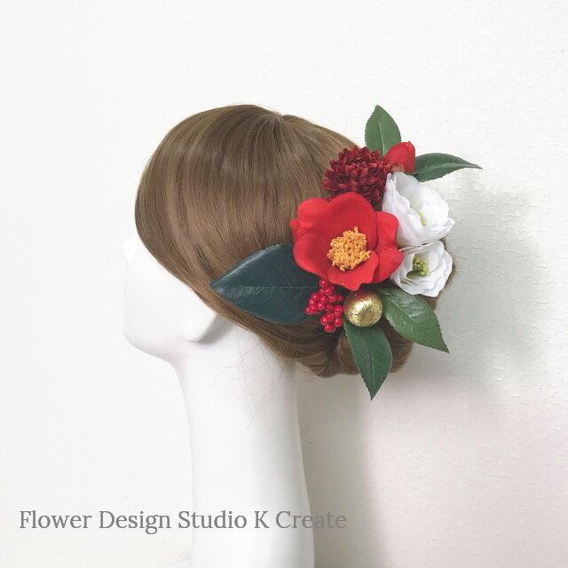 再販:成人式 卒業袴 和装髪飾り♡紅白の椿の髪飾り (Uピン9本セット)の画像1枚目