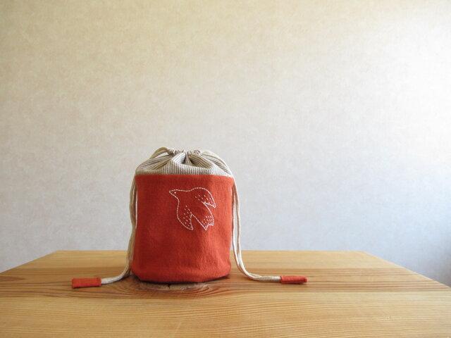 刺繍の小物入れ 鳥さん、オレンジの画像1枚目
