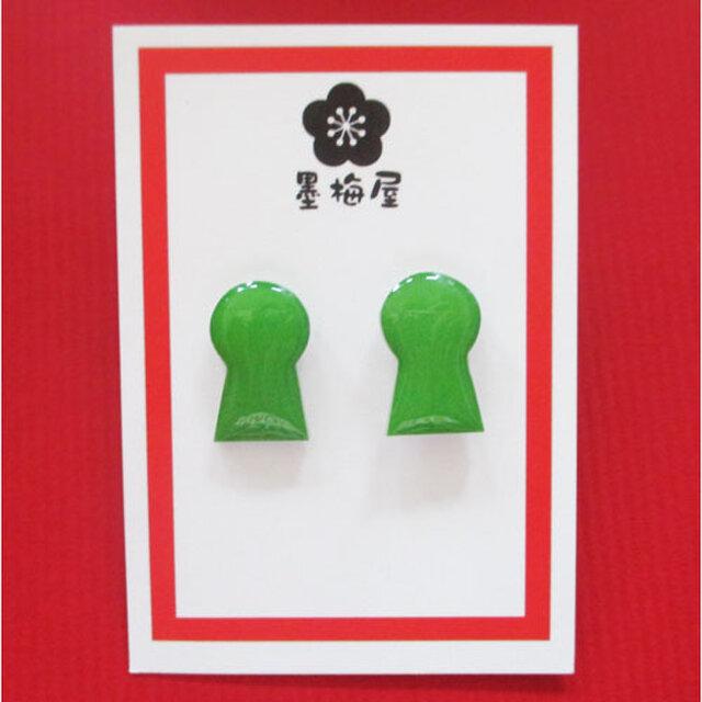 前方後円墳ピアス(緑)の画像1枚目