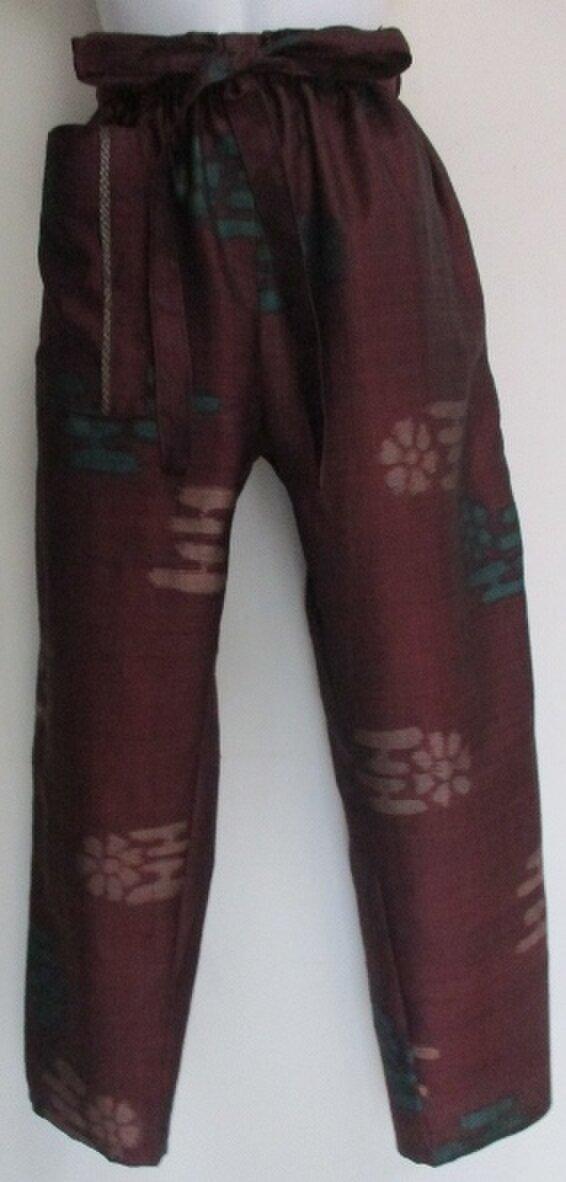 4387 #送料無料 柄入りの紬で作ったパンツの画像1枚目