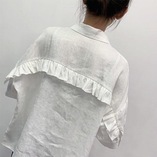 en-en ・リネン背フリルシャツ・オフホワイト(羽織にも)の画像1枚目
