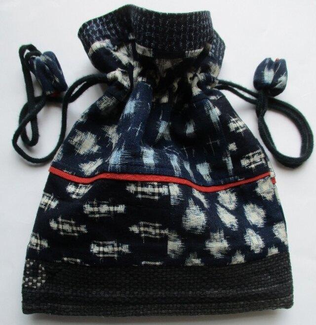 4393 #送料無料 絣で作った巾着袋の画像1枚目
