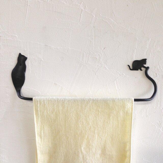 親子猫のタオルハンガーの画像1枚目