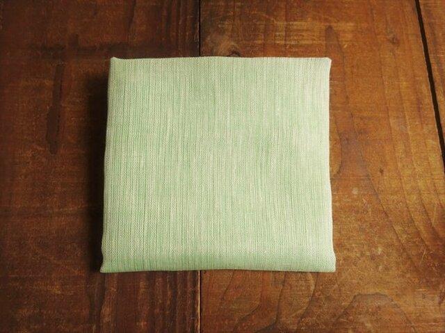 上質リネン シングルガーゼのハンカチ/スカーフ ミント×白の画像1枚目