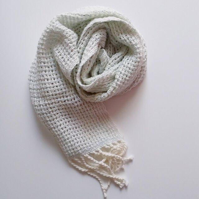 UV防止 手織りシルクコットンミニストール レース織り 925の画像1枚目