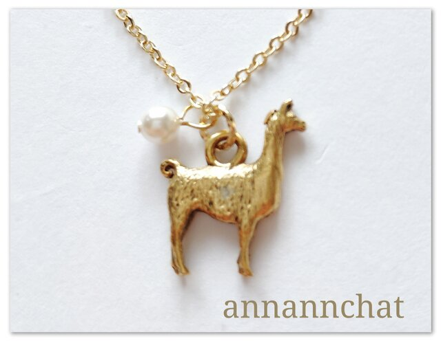 【アルパカ(動物) ゴールド ネックレス】癒し マチュピチュ アメリカ製の画像1枚目
