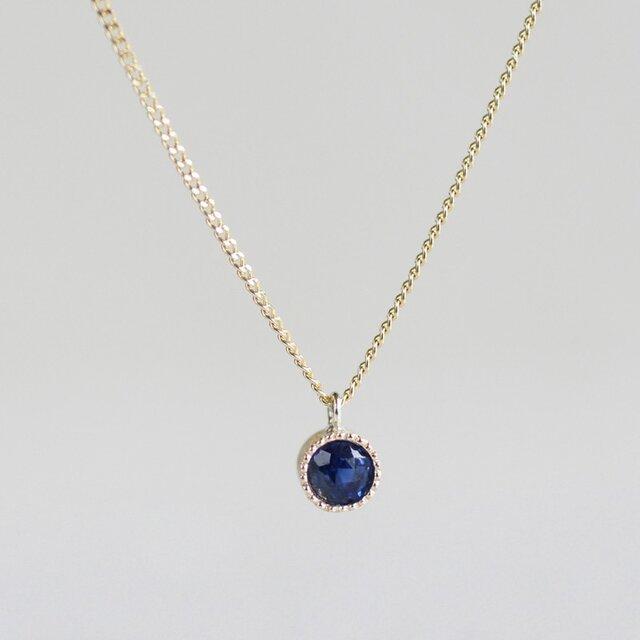 K18 Sapphire birth stone pendant (φ3.5mm)の画像1枚目