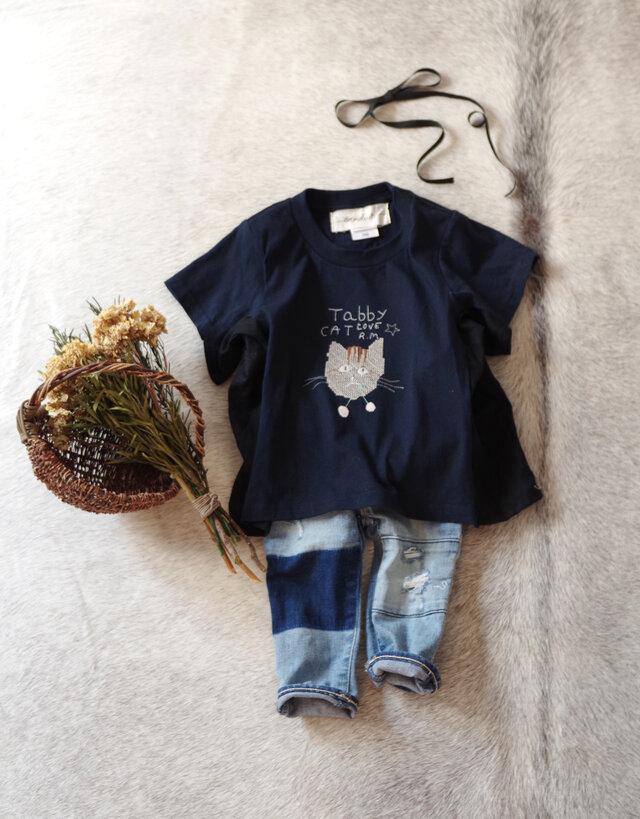 ネイビー色]ネコちゃんが選べる!名前が入れられる♪夏が待ち遠しいビッグTシャツ/100/110/120/130の画像1枚目
