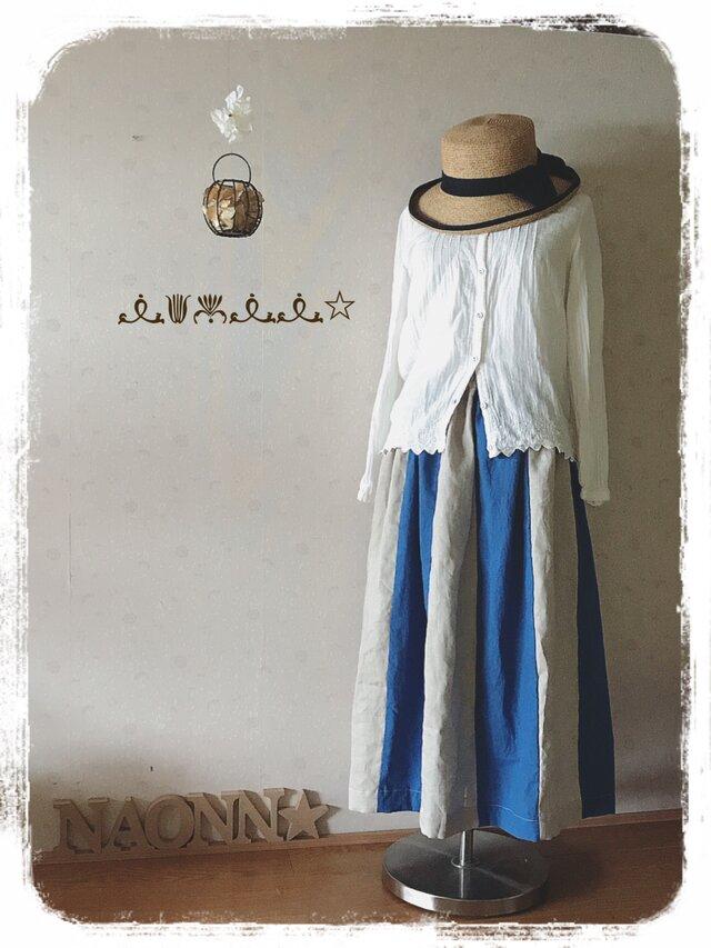 バイカラースカート(ブルー)の画像1枚目