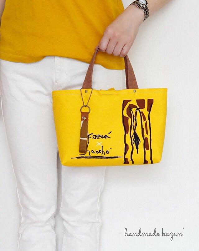 オリジナルデザイン!キリンのお尻柄トートバッグ・ストラップ付き(黄色)の画像1枚目