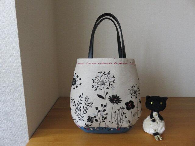綿麻花柄生地のたまご型トートバッグ(ブルー系) 本革持ち手の画像1枚目