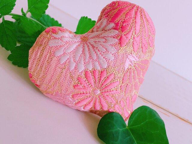 祈りの匂い袋〜香りむすび〜 ハート香 撫子色 菊の画像1枚目