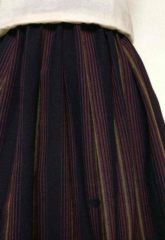 古布木綿着物リメイク:タックスカートの画像1枚目